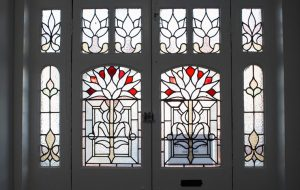 Stained glass door at Grovelands Avenue